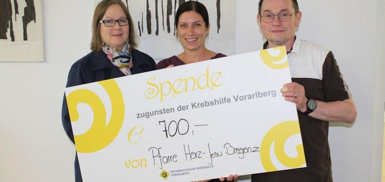 Scheckübergabe Vorarlberger Krebshilfe