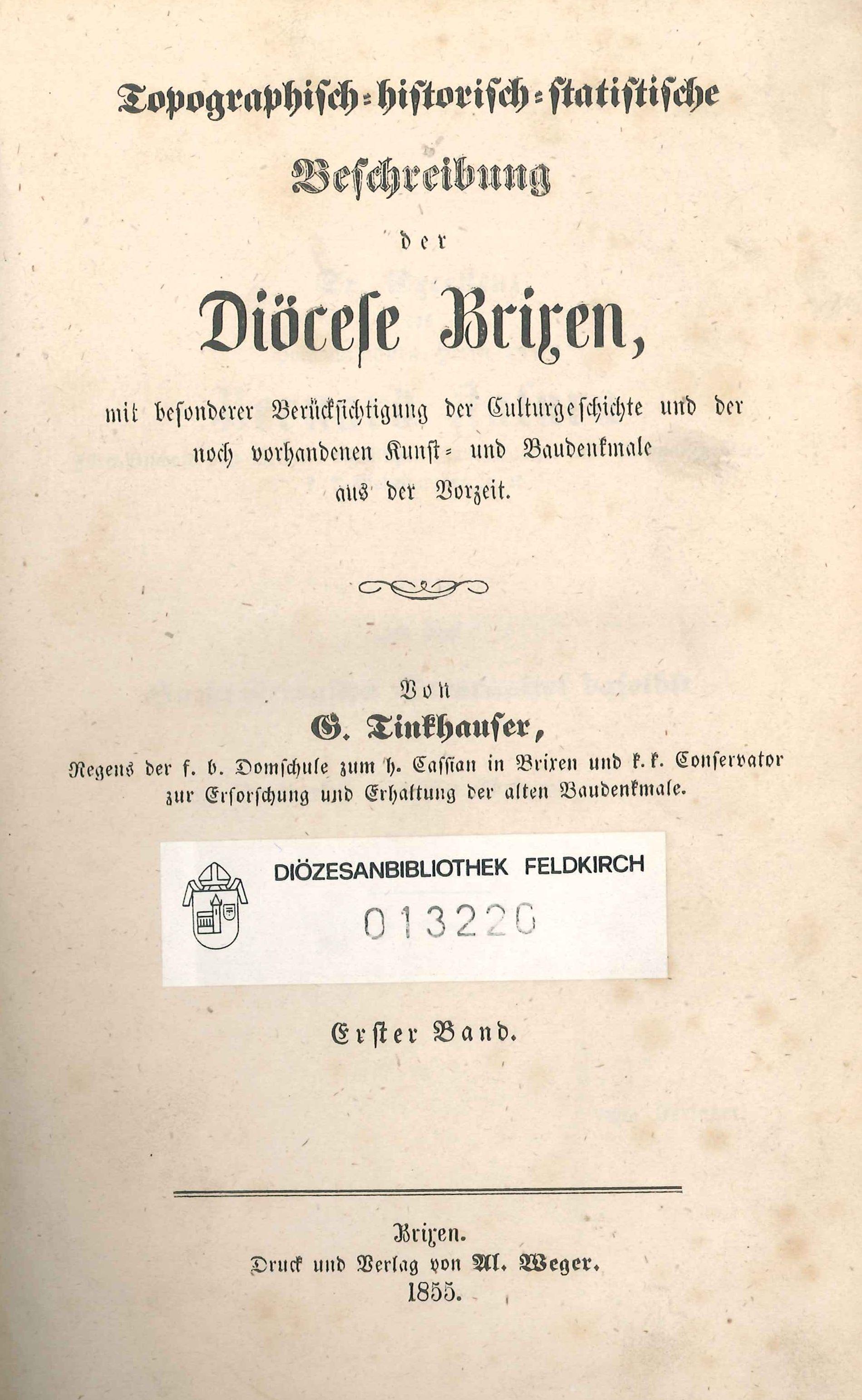 Topographisch-historische Beschreibung der Diözese Brixen von Georg Tinkhauser
