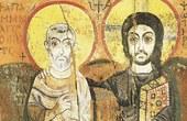 Photo: Christus und ABt Menas, Ikone, Ägypten, 6. Jahrhundert. Heute im Louvre, Paris.