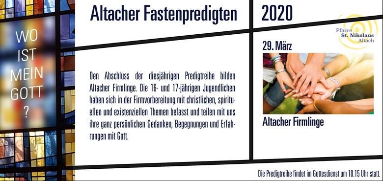 Altacher Fastenpredigten 2020 | Firmlinge - Absage!