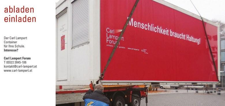 Carl Lampert Container macht Halt in Göfis